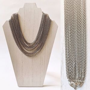 VTG Lisner Silver Toned Layered Chain Bib Necklace